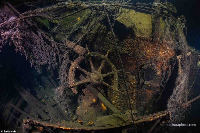 The wreck of the German cruiser Karlsruhe was discovered off the coast of Poland by divers exploring the area in search of the sunken ship in April 1945.