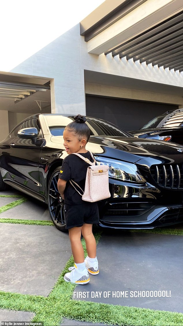 Now that is a backpack!She's no stranger the luxurious lifestyle, thanks to her mom Kylie Jenner. And on Wednesday morning, proud mom Kylie shared a snap of daughter Stormi, two, before school