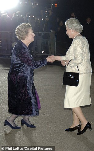 Margaret Thatcher and the Queen at a birthday part for the former Prime Minister in London in 2005