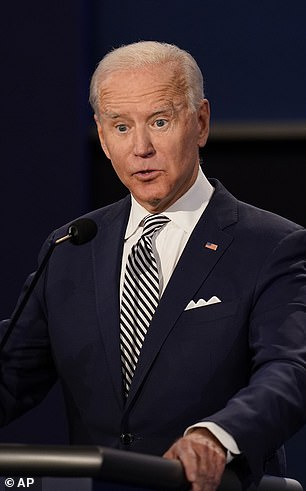 Joe Biden pictured at Tuesday's presidential debate