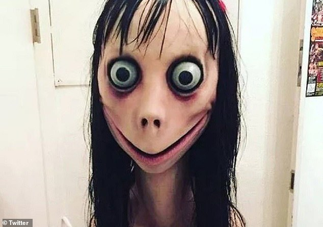 The Momo Challenge, which was first reported in July 2018, saw users hounded with frightening images and violent messagesleading to calls for 'players' to kill themselves ('Momo' pictured)