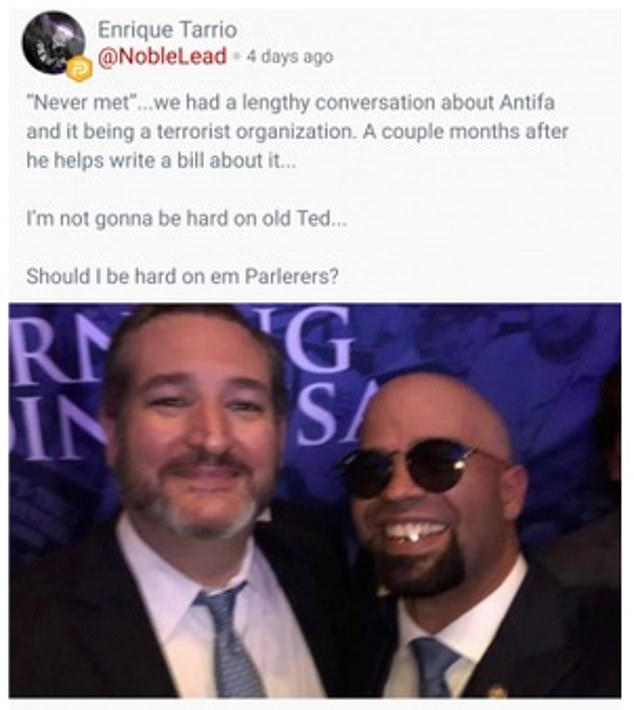 Tarrio is pictured withRepublican senator Ted Cruz, who co-sponsored a Senate resolution based on a petition written by Tarrio to designate the anarchist left wing group Antifa as a 'domestic terrorist organization'