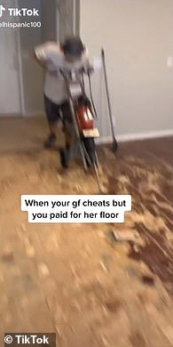 Going, going, gone: Ivan captioned the video, 'When your [girlfriend] cheats but you paid for her floor'