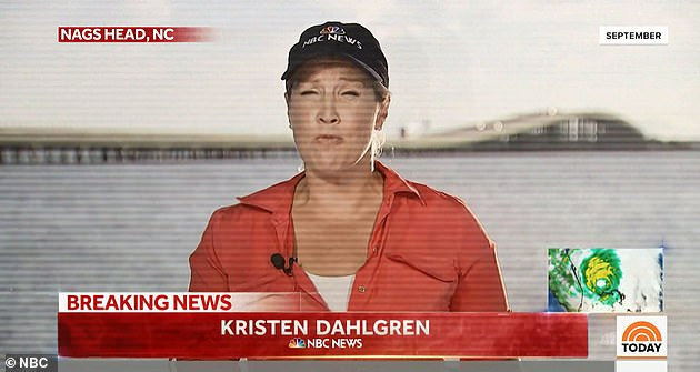 Life-saving decision: While reporting on a hurricane in North Carolina, Dahlgren dashed to a local hospital to get a mammogram and ultrasound after finding a 'dent' in her breast