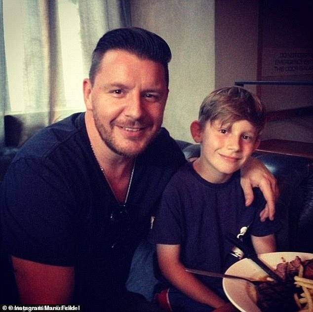 Fatherhood: In recent years, Manu has rarely shares images of his son, who he shares with former partner Veronica Morshead, on social media. Pictured is Manu and Jonti