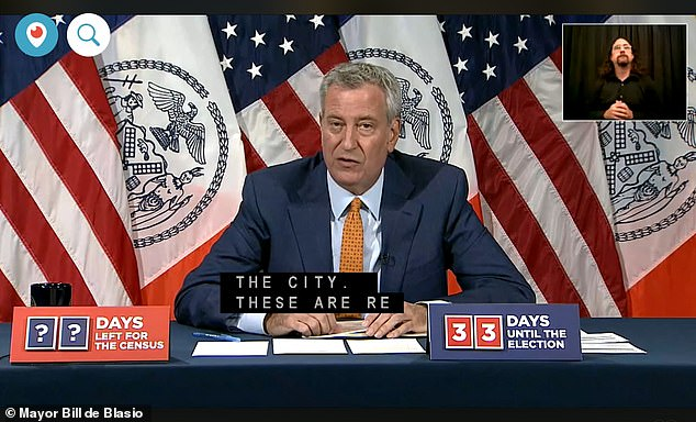 Bill de Blasio had said police officers should be 'held to the same standard as all citizens' and should face penalties for not wearing masks