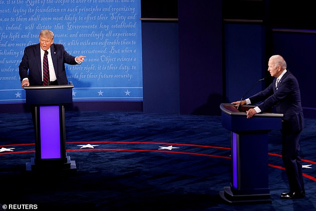 At odds: She was referring to Tuesday night's event, when President Donald Trump and Democratic Presidential candidate Joe Biden faced off in an ugly 90min debate moderated by Fox News' Chris Wallace