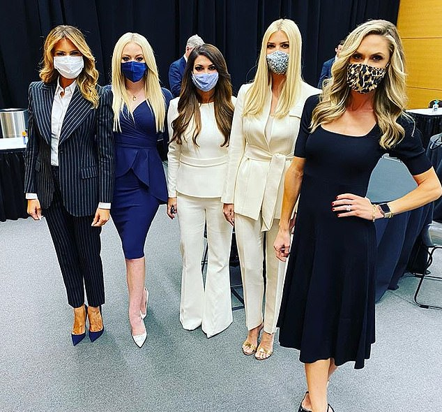 Group: Tiffany Trump, Kimberly Guilfoyle and Lara Trump also posed for photos with Melania and traveled on Air Force One.  None of them confirmed if they had been tested