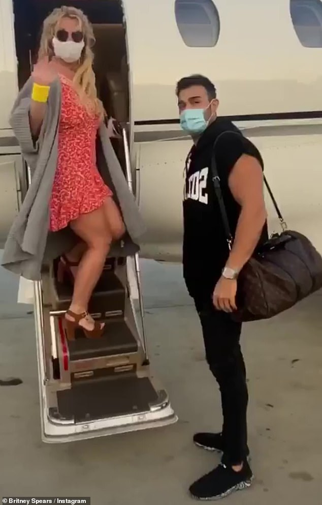 They leave: Britney Spears and her boyfriend Sam Asghari posted videos on Instagram on Friday showing they took a recent trip