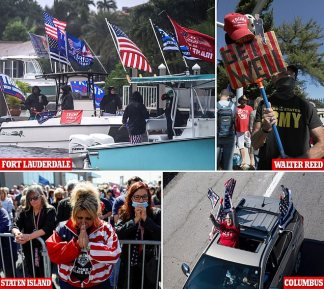Trump fans unite across America as he battles coronavirus plague: President's supporters pack streets outside Walter Reed, take part in a huge boat flotilla in Florida and pray in New York