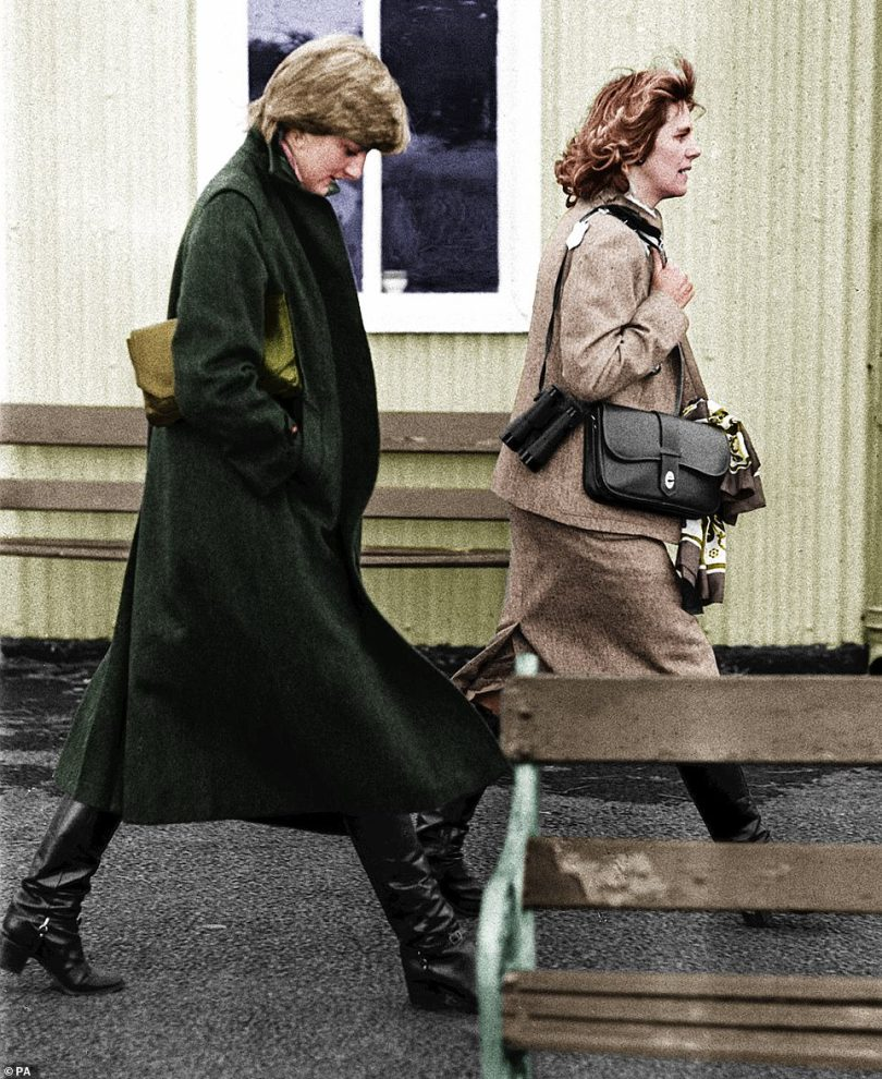 Iconic: While there are no pictures of a young Camilla taken at Australia House, she was sporting a similar look when she was pictured (right) with Diana (left) in August 1997 at Ludlow racecourse