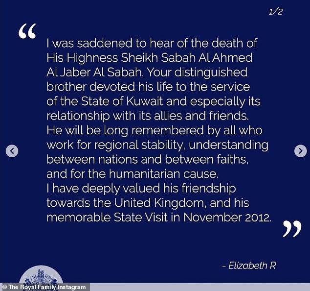 La reine a écrit dans les condoléances, qui ont également été partagées sur le compte Twitter officiel de la famille royale: `` Votre distingué frère a consacré sa vie au service de l'État du Koweït et en particulier à ses relations avec ses alliés et amis ''