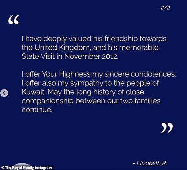Elle a ajouté: `` J'ai profondément apprécié son amitié envers le Royaume-Uni et sa mémorable visite d'État en novembre 2012 ''