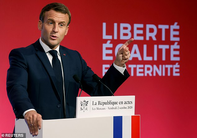 French President Emmanuel Macron delivers a speech to present his anti-separatism strategy at Les Mureaux, near Paris, France on October 2.  Turkey today condemned its attempt to