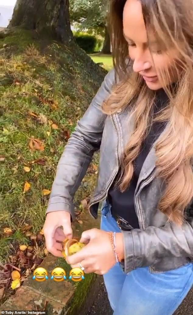 That's a big one: Later, the pair headed out to find conkers, with Cassie delightedly showing off a giant one she had found
