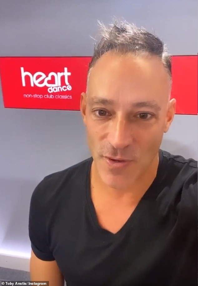 Back to the day job: On Monday, Toby headed back to the Global radio studios where he hosts the Heart Dance Breakfast Show live across the UK every morning