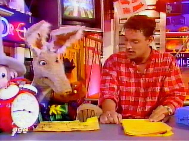 His first love: Toby found fame while starring in the BBC Broom Cupboard with Otis the Aardvark from 1992-1995