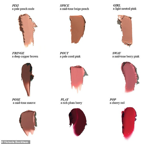 Monikers:She has branded the rest of the range with names such as Pout, Sway, Pose, Pop, and of course, Spice