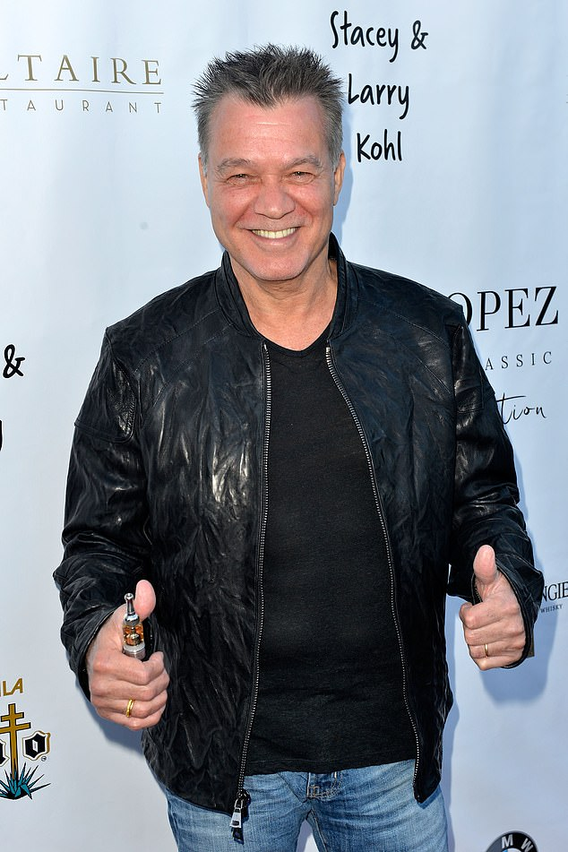 Sad loss:Musician Eddie Van Halen died at the age of 65 on Tuesday. Seen in April 2017
