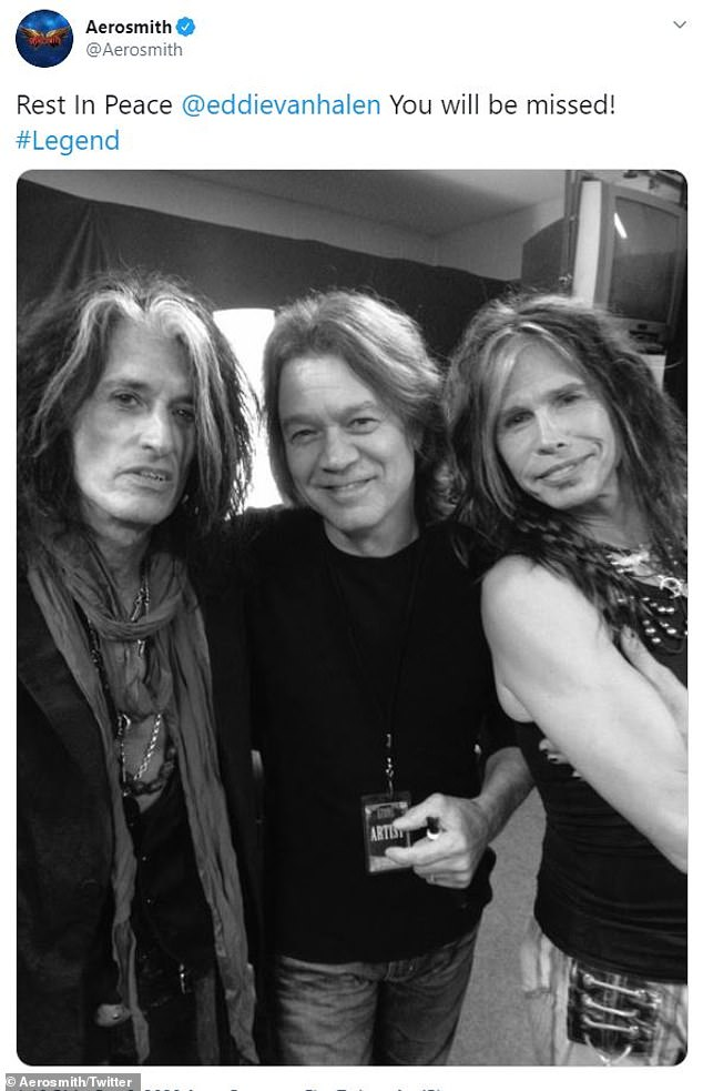 A tweet from the Aerosmith account read 'Rest In Peace', with a photo of Steven Tyler and Joe Perry with Van Halen