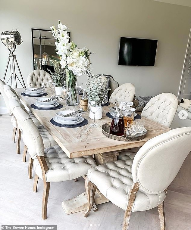 Dining area: Meanwhile, the dining area boasts a rustic 2.4metre dining table, which she recently dressed with a range of high-end crockery