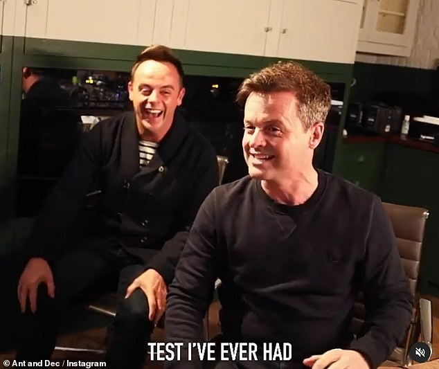 Never again: Dec vows to never end with Ant again, saying, `` It was the most uncomfortable test I've ever had.  We will do them individually from now on '