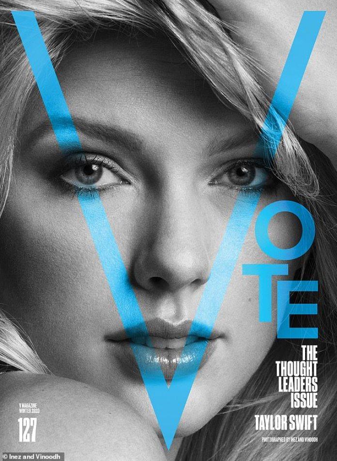 ¡V para votar! Swift compartió sus pensamientos sobre el futuro del país mientras cubría la edición de este mes de la revista V, diciéndole a la gente que vote por el cambio.