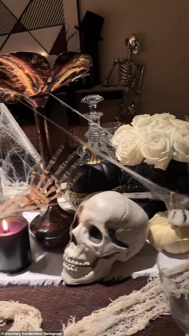 Festive for October: Kardashian has gone all-out for her Halloween decorations this year inside her home