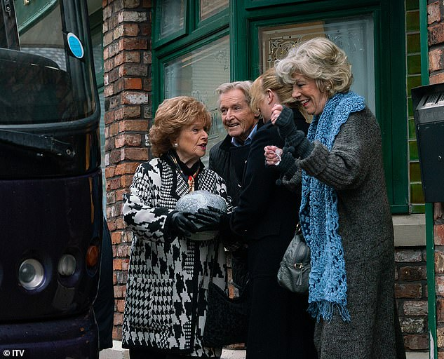 At last! The soap confirmed that Bill and Barbara Knox were back on set recording scenes for the soap's 60th Anniversary, which will air in December (pictured on the soap in February)