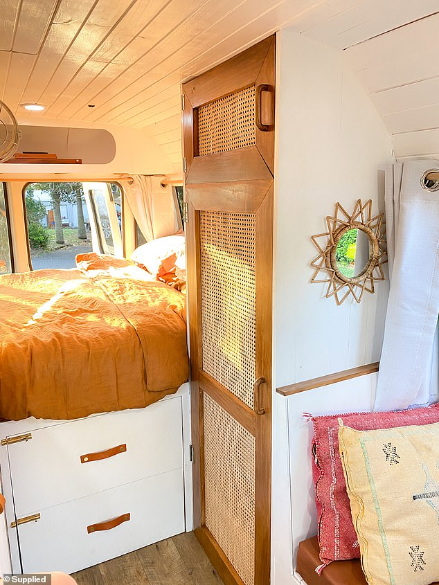 Inside the bus there's a double bed, spacious kitchen, gas top cooker and sink, along with a dinette that turns into a sitting couch and storage space