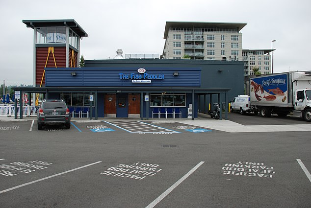 Steiger viisted The Fish Peddler Restaurant (pictured) in Tacoma, where he allegedly flipped off one staffer and left a disparaging note to another over a Black Lives Matter button