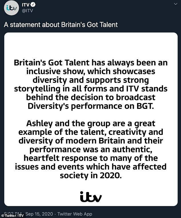 Support: ITV has `` supported diversity '' by running advertisements in national newspapers in support of the routine, while Ofcom said it will no longer investigate complaints.