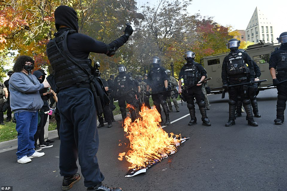 The protester stood in front of the police as the flag went up in flames