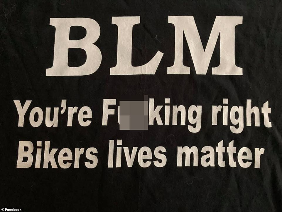 In videos and photos from the incident, Keltner was seen wearing a shirt that said 'BLM' followed by an obscene phrase (pictured) that appeared to mock the Black Lives Matter movement