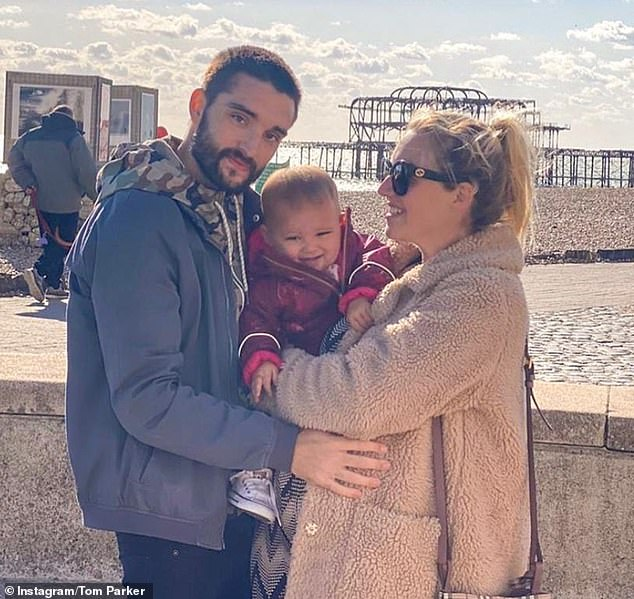 Devastating:Tom announced on Instagram on Monday that he has been diagnosed with a terminal and inoperable brain tumour (pictured with his pregnant wife Kelsey and their daughter Aurelia, 15 months)