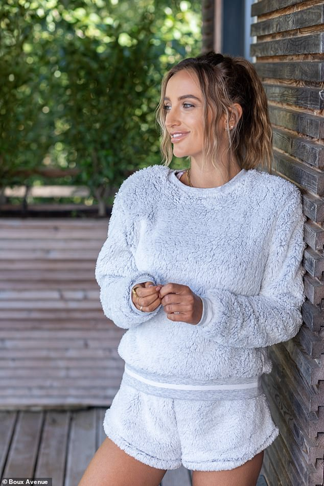 Cosy: In one snap, Tiffany modelled this incredibly soft-looking fluffy grey co-ord