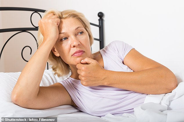Intense bouts of sweating, day and night, or 'hot flushes', occur due to a decline in oestrogen due to the menopause [File photo]