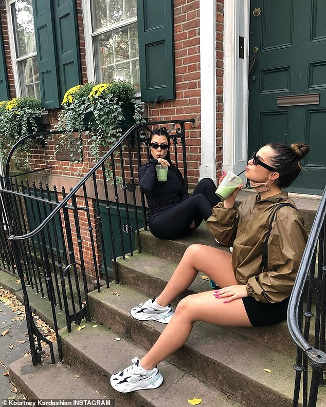 Green goodness: Also on Monday, the little star shared several new images on Instagram. In an instant, Kris Jenner's daughter was seen sitting on a porch with her boyfriend Addison