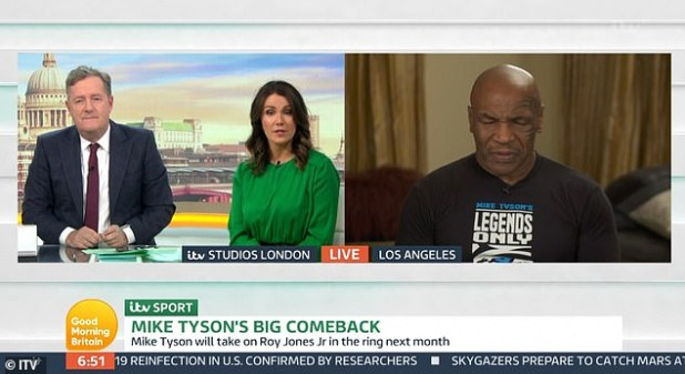 Starring role: The 54-year-old boxer appeared on the show to discuss Roy Jones Jr. coming out of retirement to fight, although his manner caused widespread concern on Twitter.