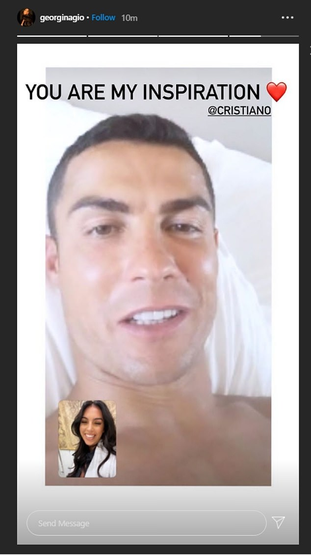 Ronaldo's girlfriend Georgina Rodriguez immediately posted a photo that appeared to show her on a FaceTime call with the player, calling it 'my inspiration'