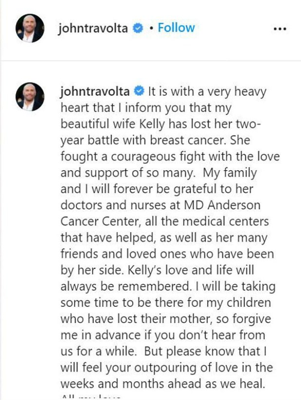 RIP: John took to his Instagram to announce Kelly's demise on July 12, 2020