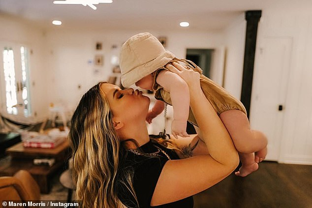 Doting mom: Over the years, she has also found happiness in her marriage with her husband Ryan Hurd, who she wed in 2018, and raising their seven-month-old son Hayes Andrew