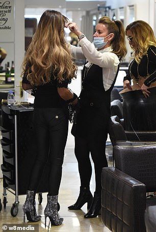 A new look: She then settled down for a bouncy blow dry