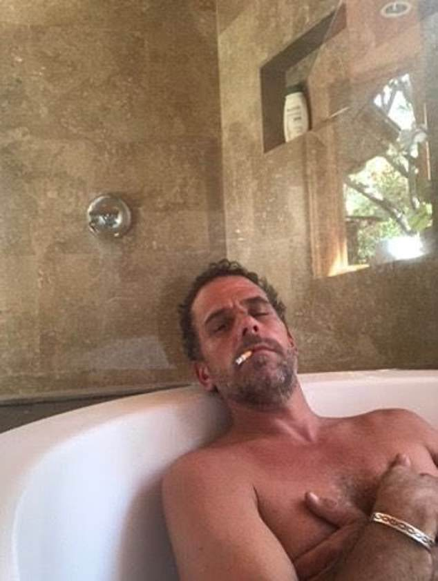 In hot water: Hunter Biden's laptop also contained sexually explicit pictures and footage of him apparently smoking crack, the New York Post reported