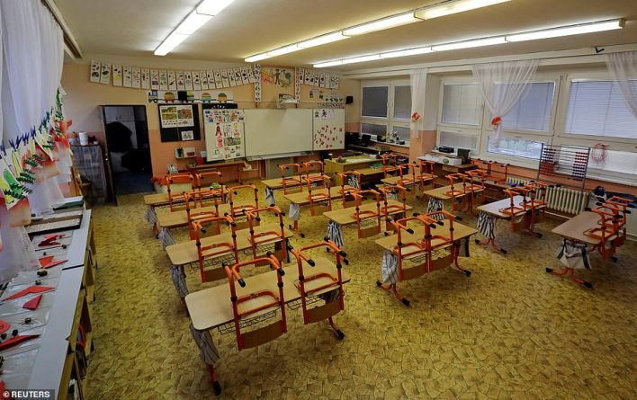 CZECH REPUBLIC: An empty classroom in Prague where the government has sent children back to distance learning to stem Europe's worst infection rate