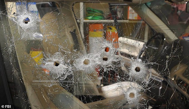 The bullet-riddled window of the SUV Juan Jesús Guerrero was sitting in when he was killed by an assassin of the Beltrán-Leyva Organization Drug Cartel in 2013