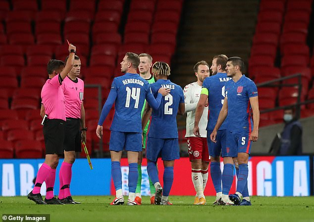England's Reece James was shown a red card by the referee after the full-time whistle