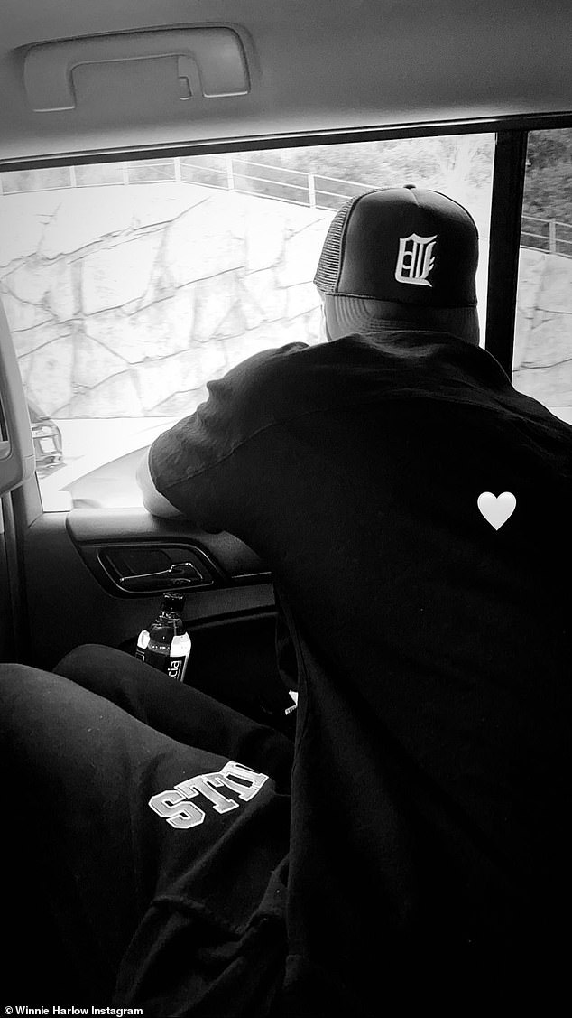Beau: She also posted a black-and-white snap of Kyle, adding a heart-shaped emoji