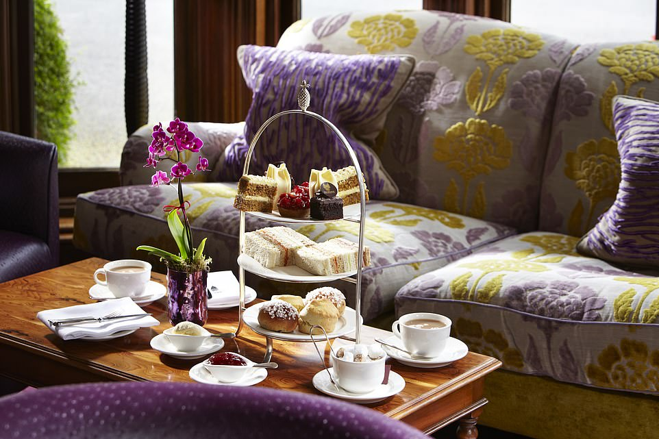 The multiple dining options include afternoon tea, where tiered cake stands are the order of the day