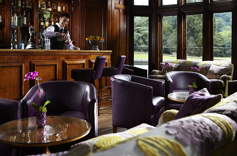 The Manor House bar. There are 180 gins to try at the hotel - and drinks can be distributed throughout the ground floor